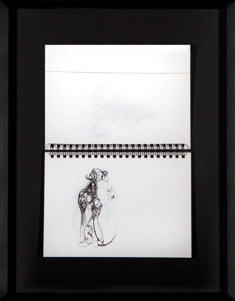 GENial_2010-2012_gerahmtes Skizzenbuch mit 39 Tuschezeichnungen auf 39 Seiten_47,5x59,5cm_rgb